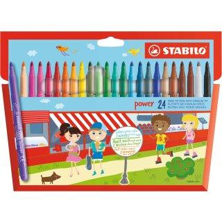 Filzstift - STABILO power - 24er Pack - mit 24 verschiedenen Farben