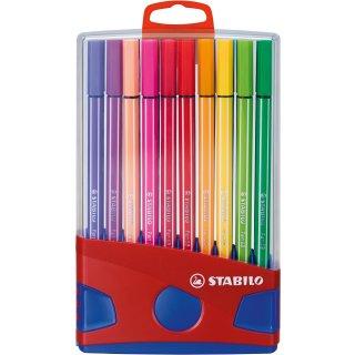 Premium-Filzstift - STABILO Pen 68 ColorParade - 20er Tischset in rot/blau - mit 20 verschiedenen Farben und Hängelasche