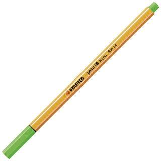 Fineliner - STABILO point 88 - Einzelstift - Neonfarbe, leuchtfarbengrün