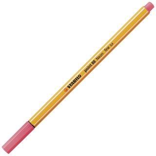 Fineliner - STABILO point 88 - Einzelstift - Neonfarbe, leuchtfarbenrot
