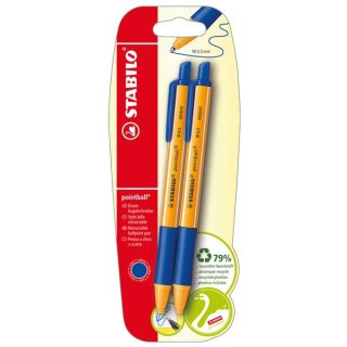 Druck-Kugelschreiber - STABILO pointball - 2er Pack - blau