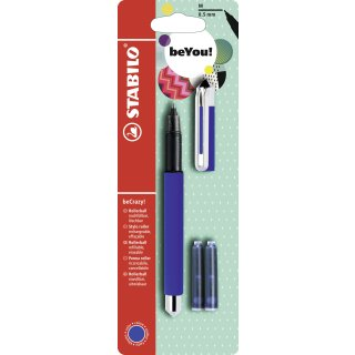 Tintenroller - STABILO beCrazy! - Uni colors in blau - Einzelstift - inklusive 3 Patronen