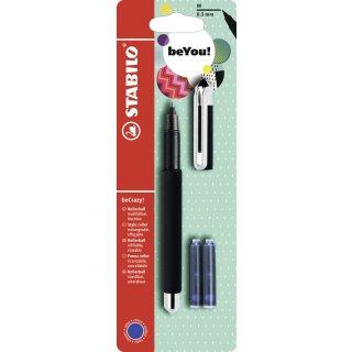 Tintenroller - STABILO beCrazy! - Uni colors in schwarz - Einzelstift - inklusive 3 Patronen
