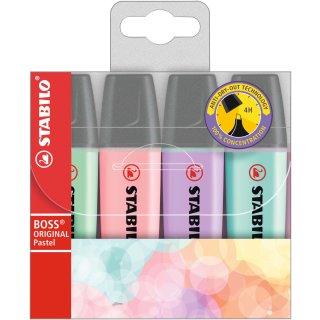 Textmarker - STABILO BOSS ORIGINAL Pastel - 4er Pack - Hauch von Minzgrün, rosiges Rouge, Schimmer von Lila, zartes Türkis