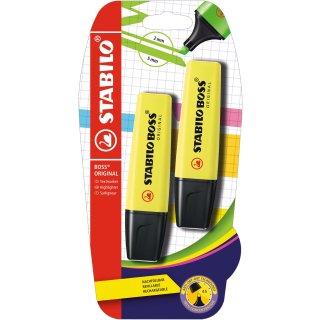 Textmarker - STABILO BOSS ORIGINAL - 2er Pack - gelb