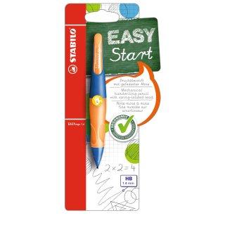 Ergonomischer Druck-Bleistift für Linkshänder - STABILO EASYergo 1.4 in ultramarinblau/neonorange - Einzelstift - inklusive 3 dünner Minen - Härtegrad HB
