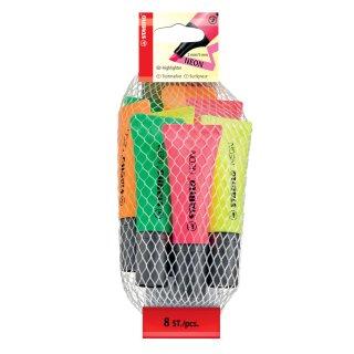 Textmarker STABILO® Neon, Netz mit 8 Stiften