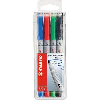 Folienstift - STABILO OHPen universal - wasserlöslich medium - 4er Pack - grün, rot, blau, schwarz