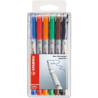 Folienstift - STABILO OHPen universal - wasserlöslich superfein - 6er Pack - mit 6 verschiedenen Farben