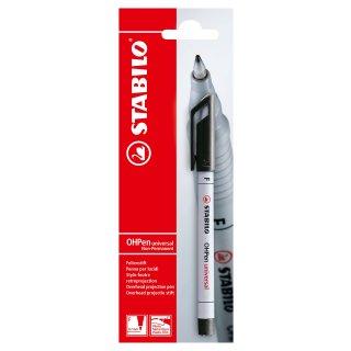 Folienstift - STABILO OHPen universal - wasserlöslich fein - Einzelstift - schwarz