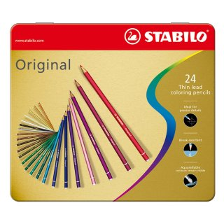 Premium-Buntstift - STABILO Original - 24er Metalletui - mit 24 verschiedenen Farben