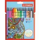 Premium-Filzstift - STABILO Pen 68 - 18er Pack - mit 18 verschiedenen Farben