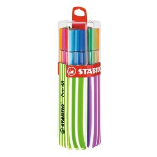 Premium-Filzstift - STABILO Pen 68 - 20er Twin-Pack in pink/apfelgrün mit Hängelasche - mit 20 verschiedenen Farben