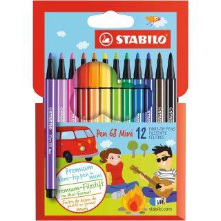Premium-Filzstift - STABILO Pen 68 Mini - 12er Pack - mit 12 verschiedenen Farben