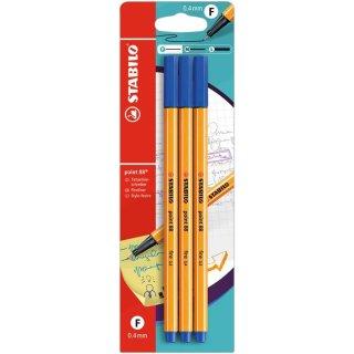 Fineliner - STABILO point 88 - 3er Pack - blau
