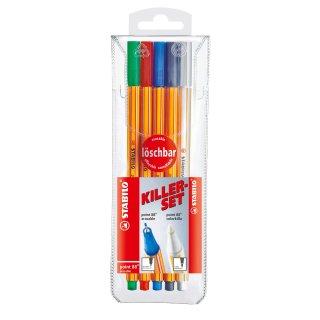 Fineliner mit löschbarer Tinte & Tintenkiller im Set - STABILO point 88 colorkilla/erasable - 5er Pack - grün, rot, blau, schwarz, 1x Tintenlöscher