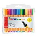 Fineliner - STABILO point 88 Mini - 18er Pack - mit 18 verschiedenen Farben inklusive 5 Neonfarben