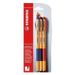 Tintenroller - STABILO pointVisco - 3er Pack - blau, schwarz, rot