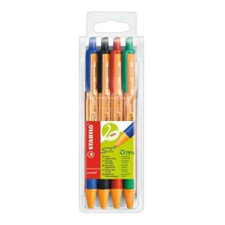 Druck-Kugelschreiber - STABILO pointball - 4er Pack - blau, schwarz, rot, grün