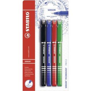 Fineliner mit gefederter Spitze - STABILO SENSOR F - fein - 4er Pack - schwarz, blau, rot, grün