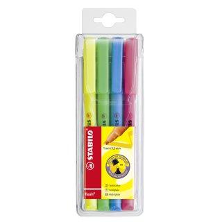 Textmarker - STABILO flash - 4er Pack - gelb, grün, blau, pink