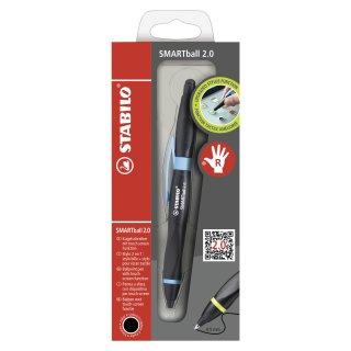 Kugelschreiber & Stylus für Tablets & Smartphones für Rechtshänder - STABILO SMARTball 2.0 in schwarz/cyan - Einzelstift - Schreibfarbe schwarz