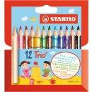 Dreikant-Buntstift STABILO® Trio® dick, kurz, Kartonetui mit 12 Stiften