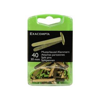 Exacompta 14748E Box (mit 40 Büroklammern für Musterbeutel, 30mm, praktisch und robust) 1 Pack gold