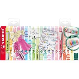 Textmarker - STABILO swing cool - 18er Tischset - mit 18 verschiedenen Farben, 8 Leuchtfarben und 10 Pastellfarben